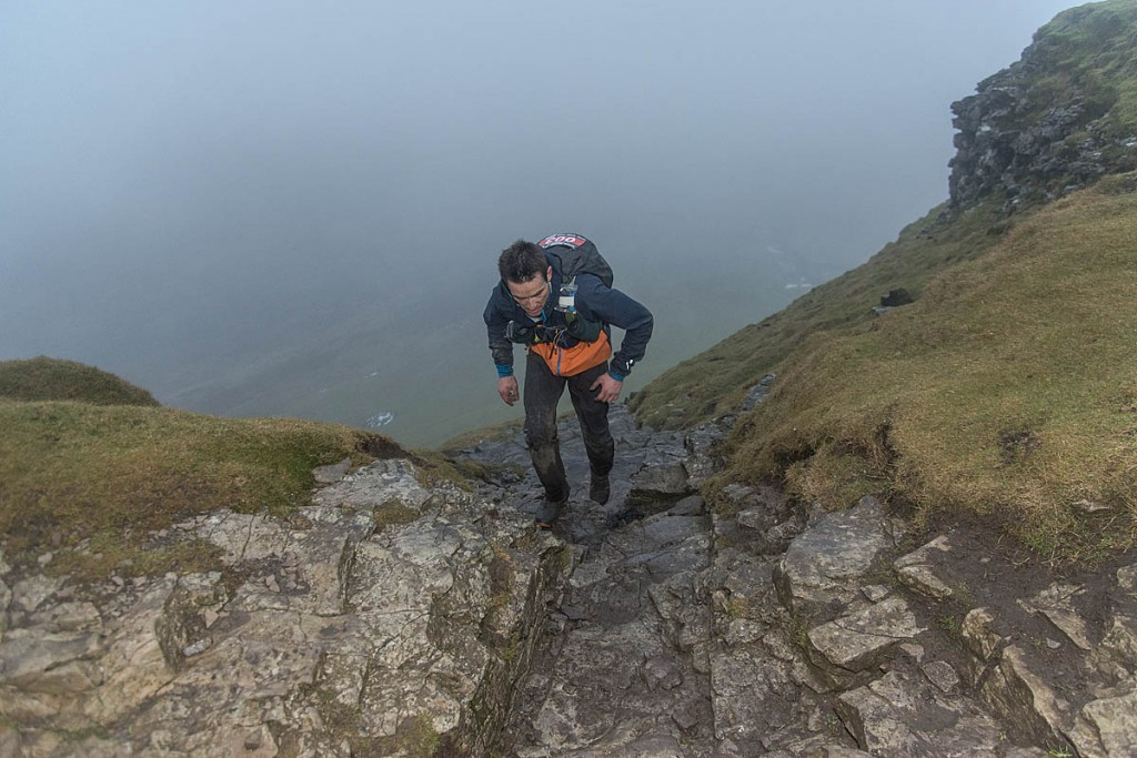 Eugeni Roselló Solé nears the summit of Pen-y-ghent. Photo: Mick Kenyon/Montane Spine Race