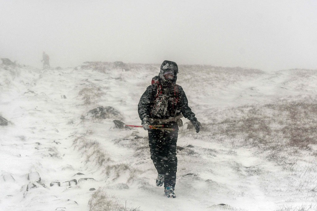 Runners faced blizzards on the Pennines during Wednesday. Photo: Mick Kenyon/Spine Race