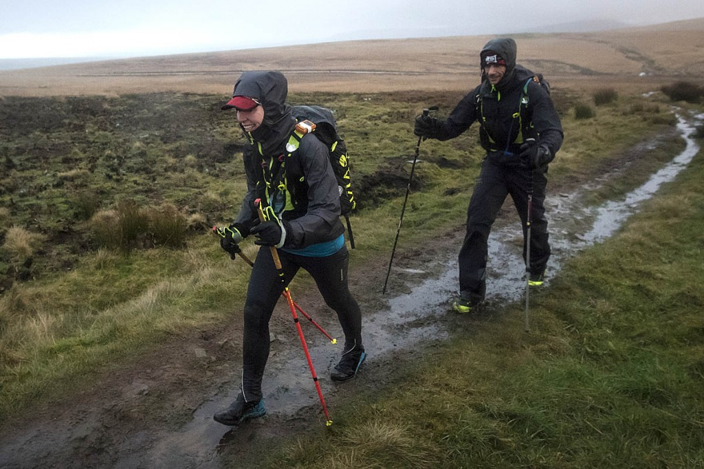 Debbie Martin-Consani with Jon Hall during the 2020 Montane Spine Race on the section between Edale and Hebden Bridge. Photo: Bob Smith/grough