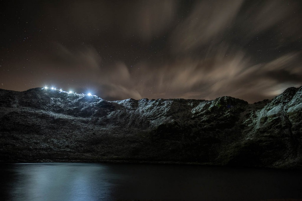 Walkers light up Striding Edge during the 5 November event. Photo: Carmen Norman