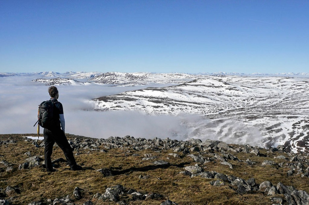 A walker views the site of the proposed Stronelairg windfarm. Photo: Kevin Lelland