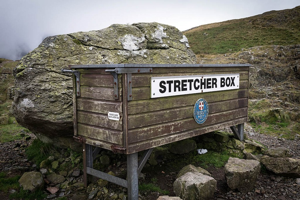 The wooden stretcher box at Sty Head has been replaced. Photo: Bob Smith/grough