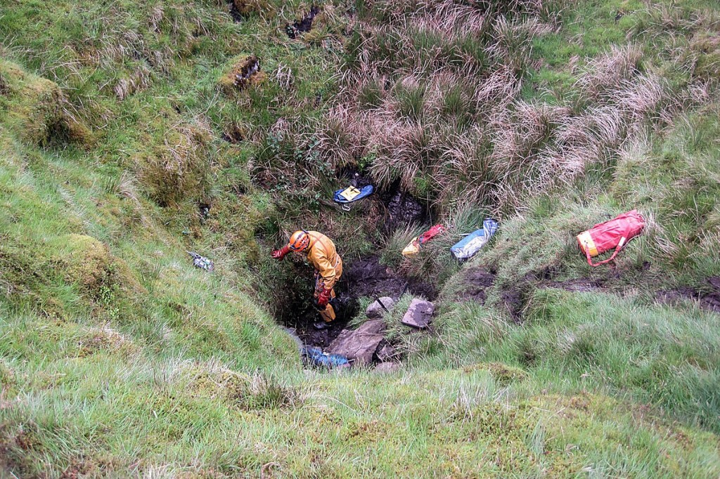 The scene on the surface at the rescue site on Fountains Fell. Photo: Swaledale MRT