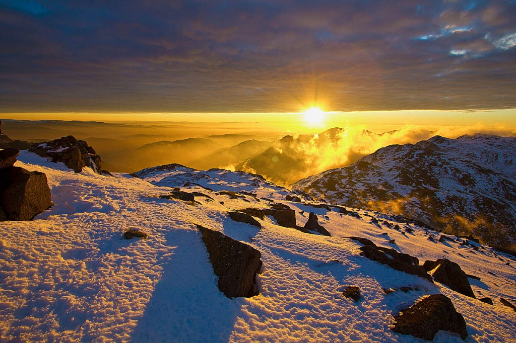 One of the photographs from the book, Winter Dawn from Bowfell. Photo: Terry Abraham