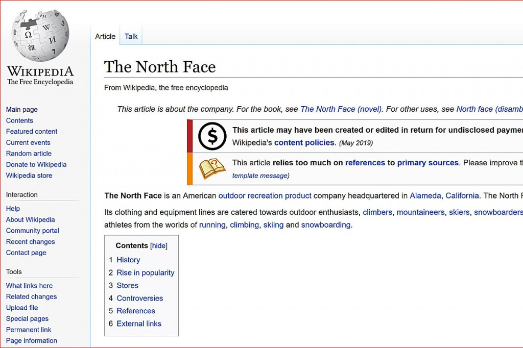 The campaign led Wikipedia to accuse The North Face of 'defacing public property'