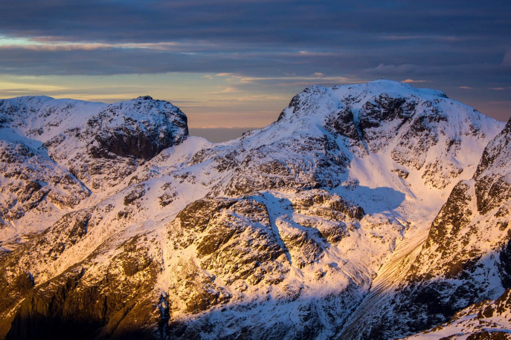 Scafell Pike and Scafell at dawn in winter. Photo: Terry Abraham