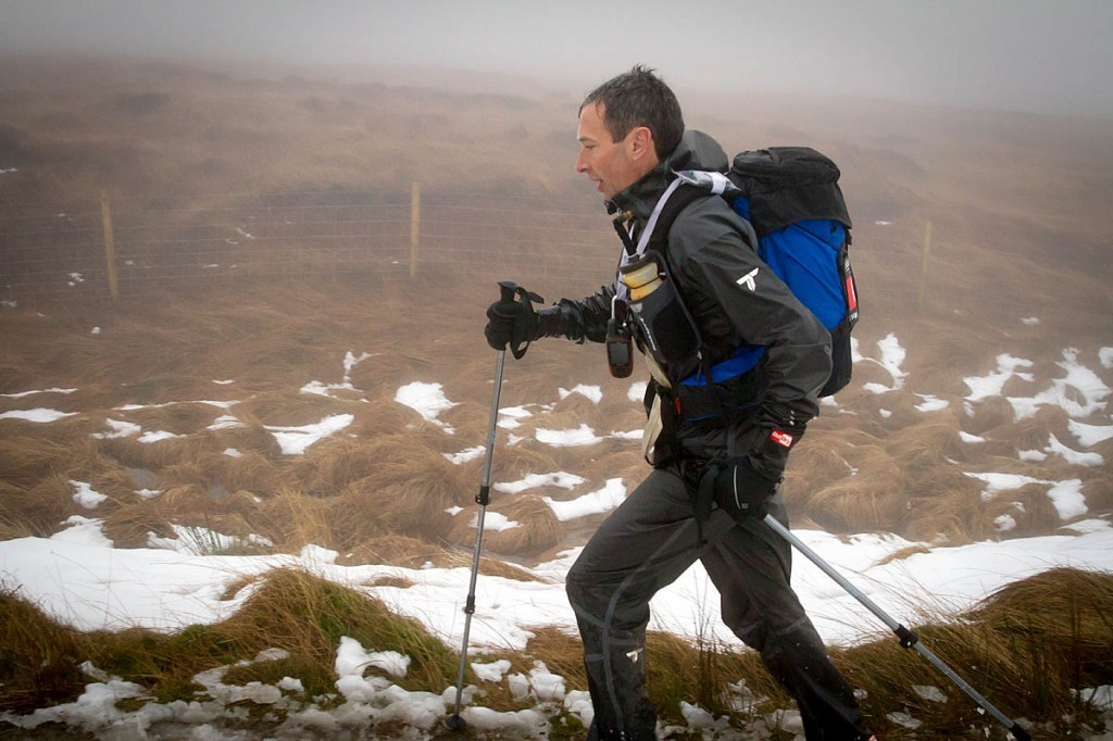 Eoin Keith makes his way up Standedge in third place. Photo: Bob Smith/grough