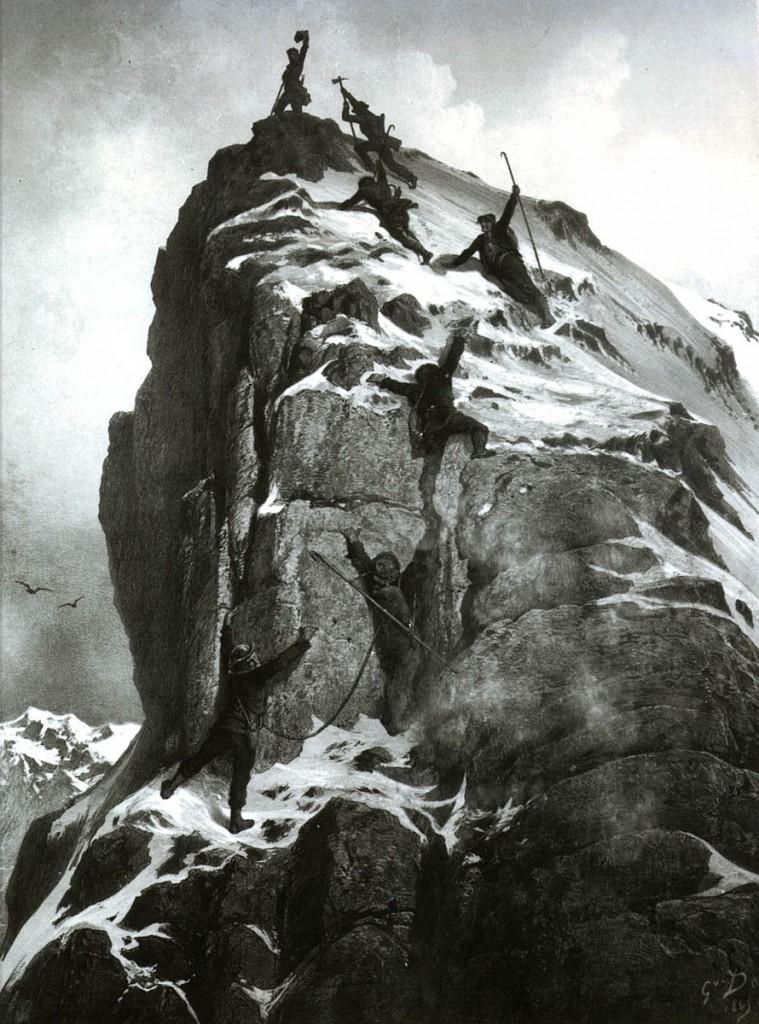 The first ascent of the Matterhorn, by Gustave Doré. Image: Zermatt Tourismus