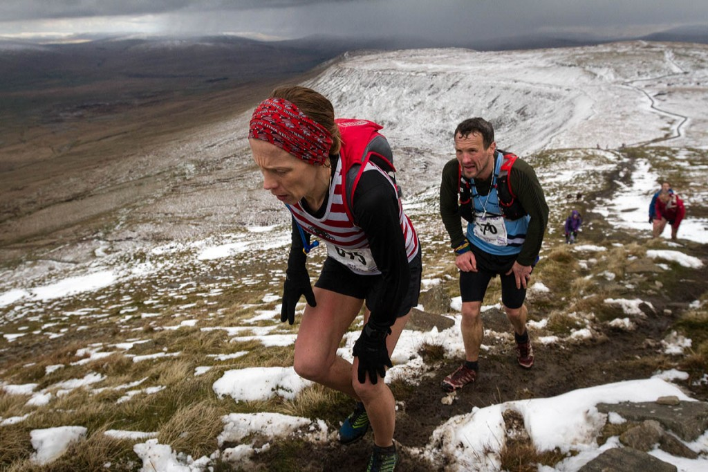 Gayle Sugden and Craig Stansfield make the climb up Swine Tail on to Ingleborough's summit
