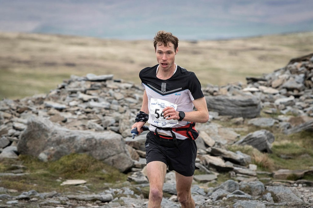 Tom Owens heads for victory on Ingleborough. Photo: Bob Smith/grough