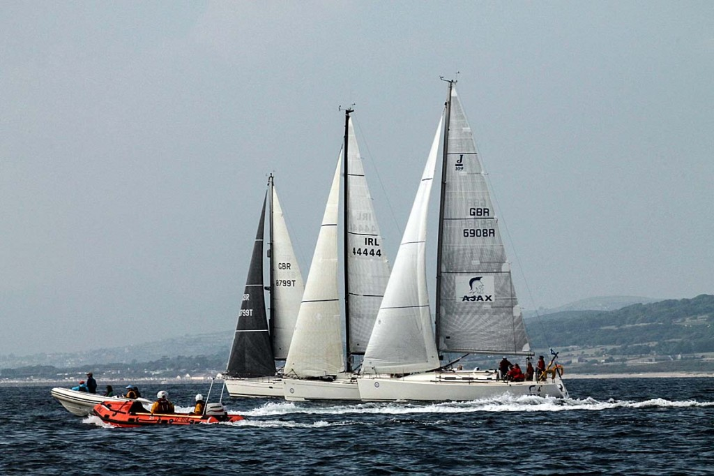Ajax, Digital Built Consultants and Wild Spirit at the start line. Photo: Rob Howard/Three Peaks Yacht Race