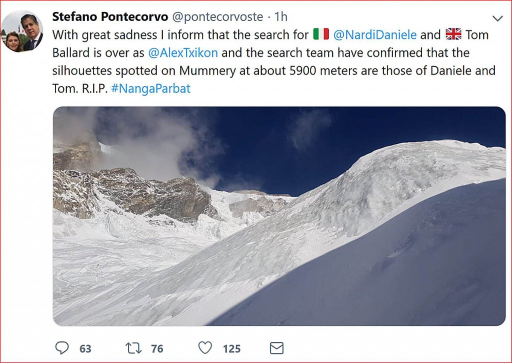 The Italian ambassador Tweeted news of the discovery