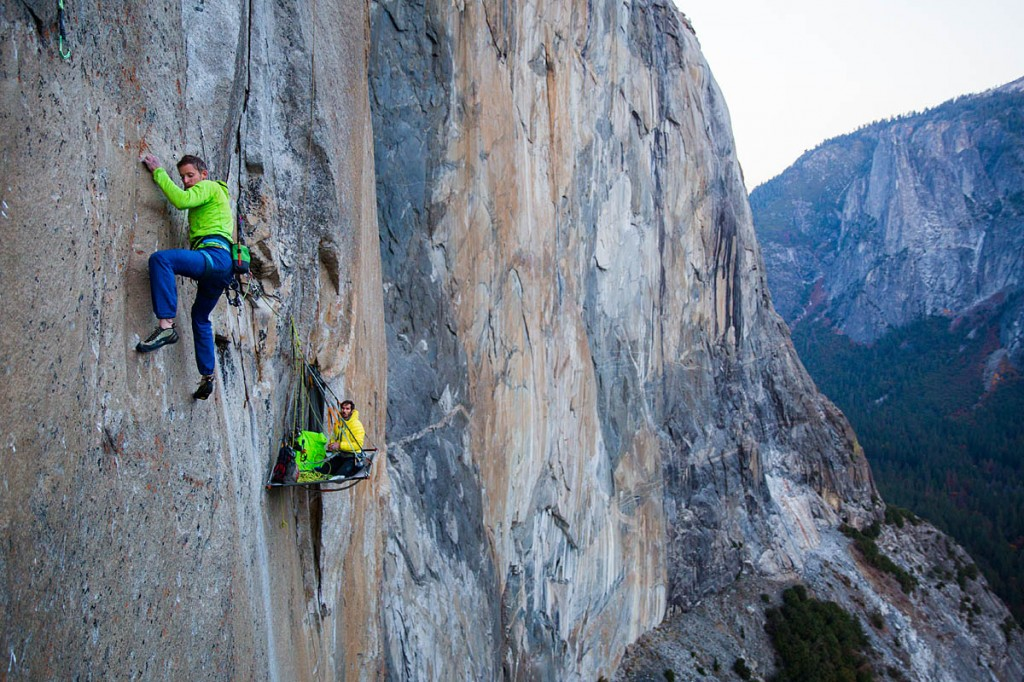 Tommy Caldwell on the first free ascent of the Dawn Wall in the Yosemite Valley. Photo: Jeff Johnson