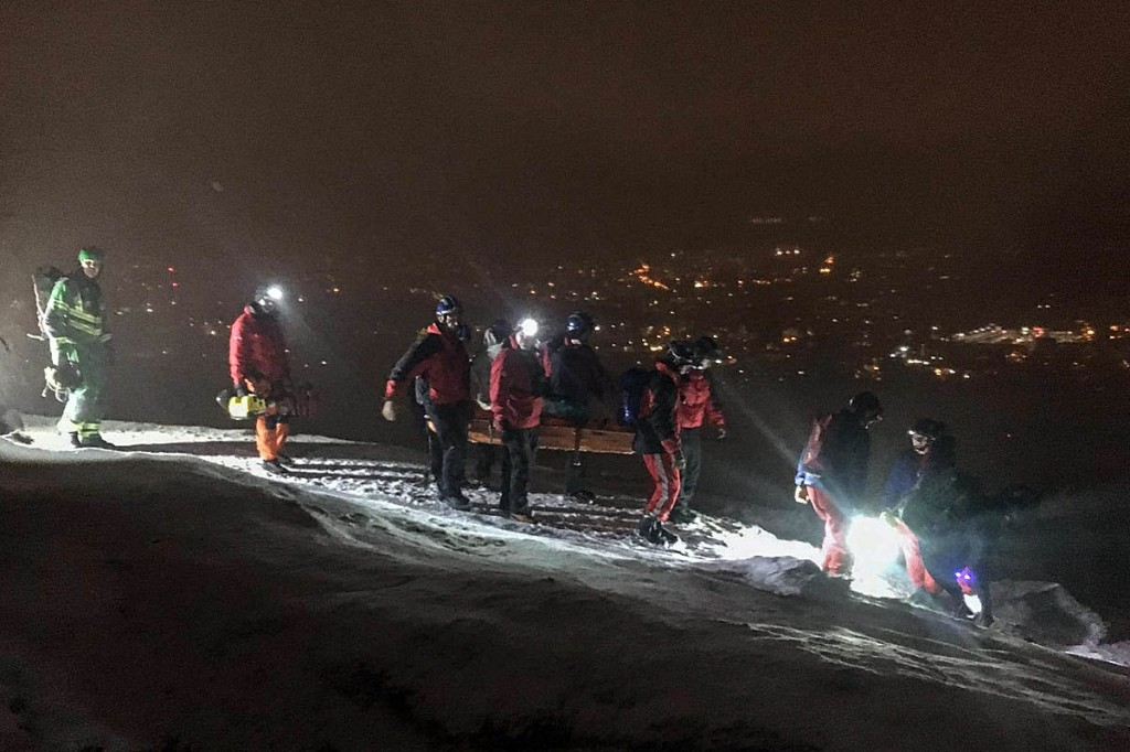 Rescuers at the scene on Arthur's Seat. Photo: Tweed Valley MRT