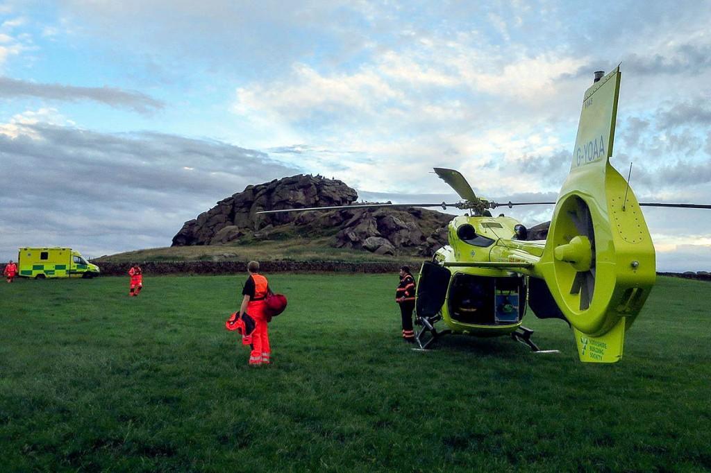 The rescue scene at Almscliff Crag. Photo: UWFRA