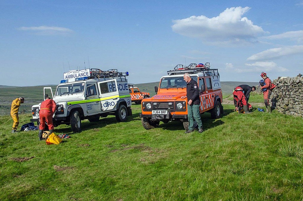 Upper Wharfedale team members were joined in the operation by the Cave Rescue Organisation. Photo: UWFRA