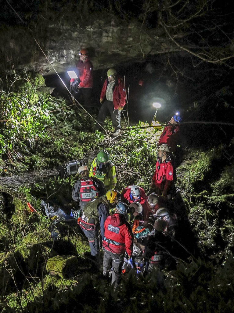 Rescuers at the scene in How Stean Gorge. Photo: Sara Spillett/UWFRA