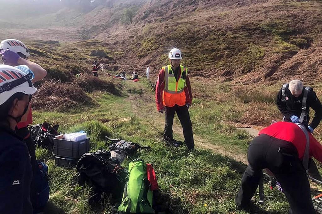 Rescuers at the site on Ilkley Moor. Photo: UWFRA