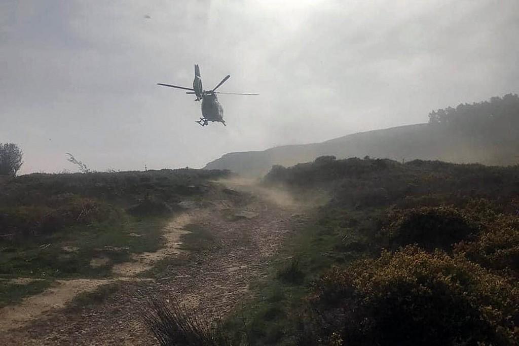 The air ambulance at the scene. Photo: UWFRA