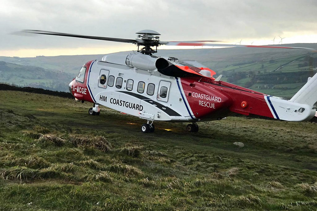 Mr Wright was spotted by the Coastguard helicopter crew. Photo: UWFRA
