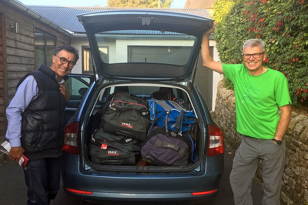 The two mountaineers load up before setting off on the expedition