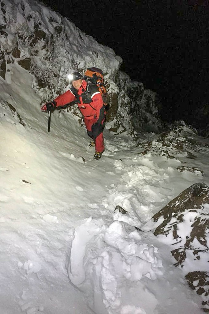 Rescuers encountered full winter conditions during the overnight rescue. Photo: Wasdale MRT
