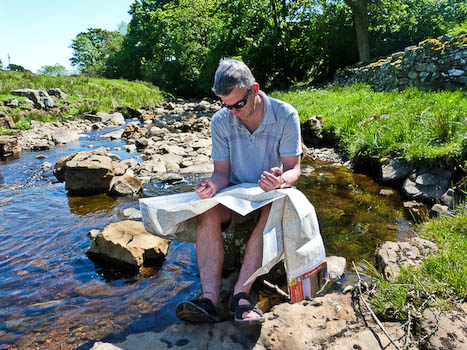 Jonathan Smith reads a map nr Askrigg in the Yorkshire Dales