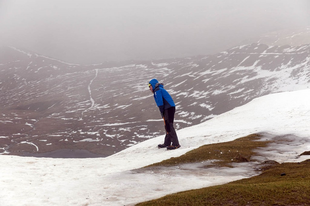 Zac checks the cornices on Helvellyn. Photo: Bob Smith/grough