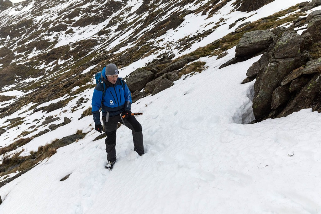 Zac Poulton demonstrates the snow trench. Photo: Bob Smith/grough