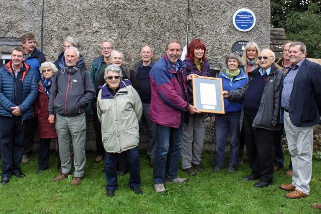 Carl Lis, right, joins Janet Street-porter and Ramblers at the plaque unveiling
