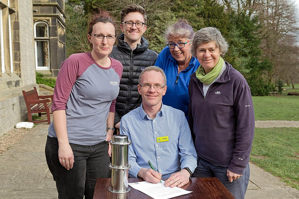 Signing the pledge with James Blake are, from left, Emma Marrington, senior rural policy campaigner for CPRE; Tom Platt from the Ramblers; Janette Ward, chair of the Campaign for National Parks; and Kate Ashbrook, general secretary of the Open Spaces Society