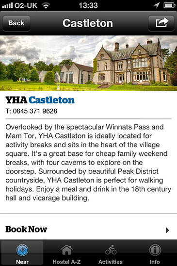 The YHA iPhone app gives information about hostels