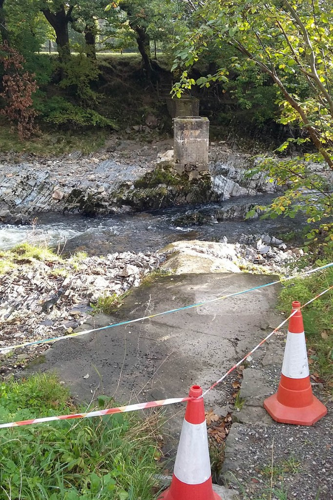 The scene after the bridge was swept away. Photo: Yorkshire Dales NPA