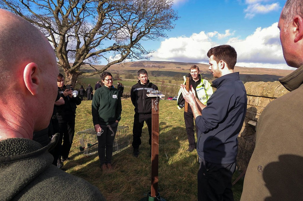 Howard Jones, RSPB investigations officer, gives police officers and national park staff an insight into illegal trapping methods at the wildlife crime seminar day in Bainbridge