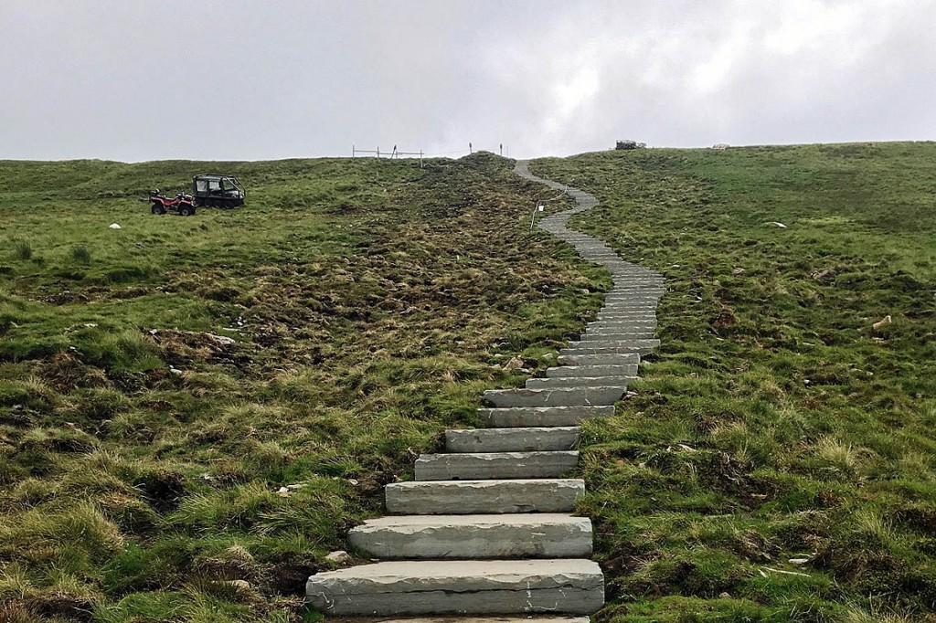 The new steps on the slopes of Pen-y-ghent. Photo: Yorkshire Dales NPA