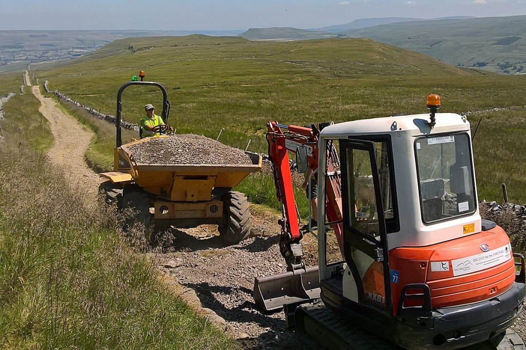 Rangers carry out the repairs on the Cam High Road. Photo: Yorkshire Dales NPA