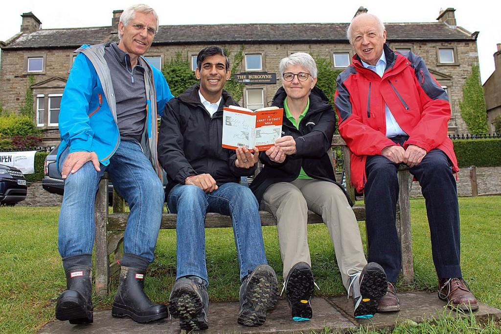 Rishi Sunak MP joins Ian Hewitt of the Burgoyne Hotel in Reeth, Kathryn Beardmore, the Yorkshire Dales National Park Authority's director of park services, and Councillor Carl Les, leader of North Yorkshire County Council. Photo: YDNPA