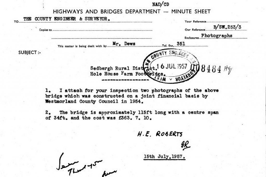 The bill for the bridge in 1957 was £363