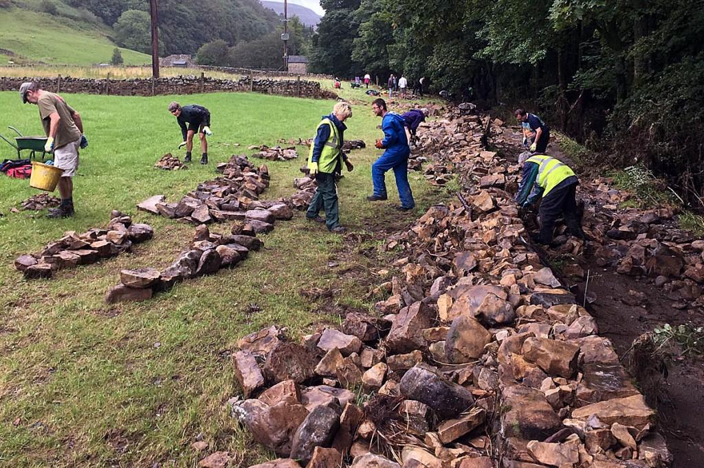 Volunteers clear debris from Langthwaite bridleway