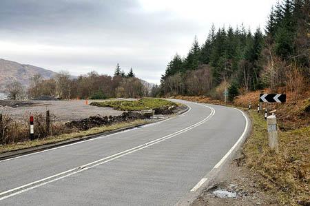 The road is closed near Corrychurrachan. Photo: Steven Brown CC-BY-SA-2.0