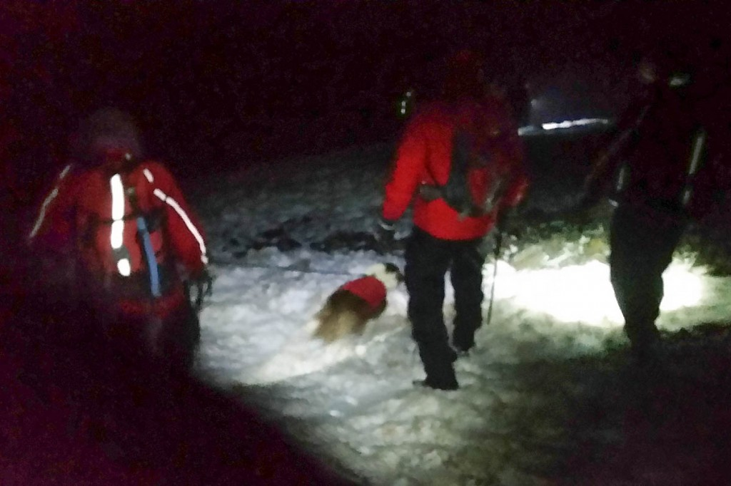 Rescuers faced snow and ice on Cadair Idris. Photo: Aberdyfi MRT