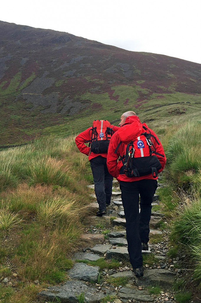 Rescuers make their way up Cadair Idris to find the walkers. Photo: Aberdyfi SRT