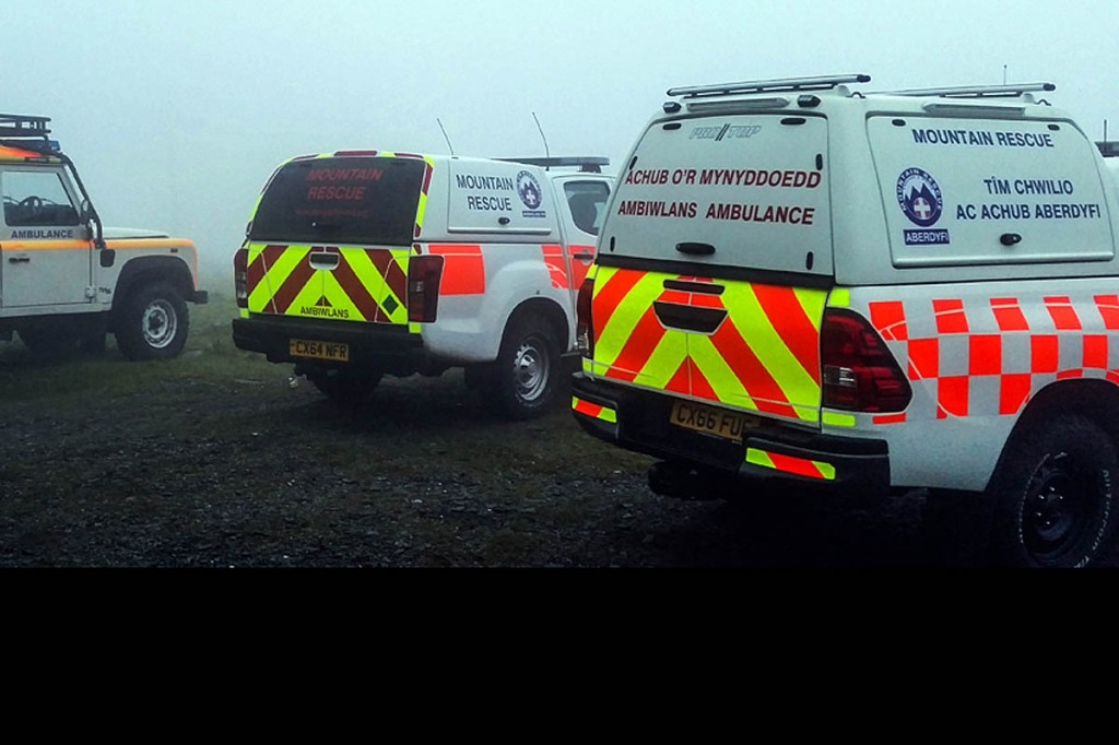 Team vehicles at the scene during the Cnicht rescue which involved stretchering the walker off the hill. Photo: Aberdyfi SRT
