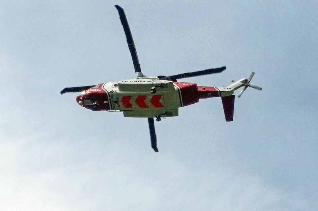 The Coastguard Sikorksky S-92 helicopter flew to the scene. Photo: Aberdyfi Search and Rescue Team