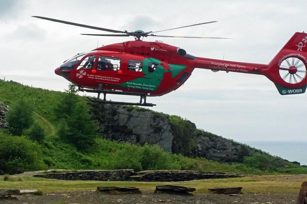 The Wales Air Ambulance at the scene of the Blue Lake incident. Photo: Aberdyfi SRT