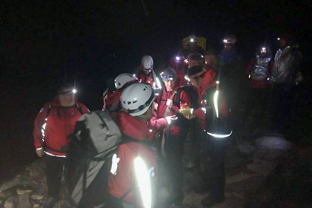 Rescuers at the scene on Snowdon. Photo: Aberglaslyn MRT