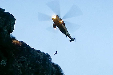 The RAF Sea King in action during the rescue of a climber at Tremadog. Photo: Aberglaslyn MRT