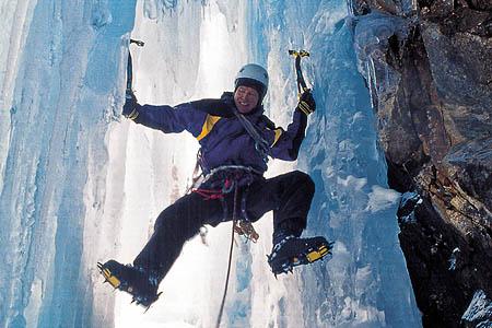 Alan Hinkes in ice-climbing action. Photo: Alan Hinkes