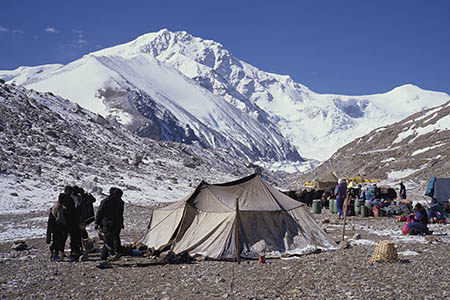 A Yak herders'€™ tent in Tibet with Shisha Pangma behind. Photo © Alan Hinkes
