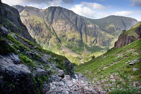 Looking back down Coire nan Lochan to the Aonach Eagach